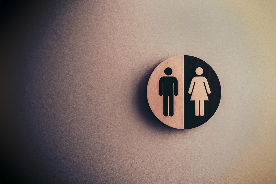 Man and woman nonhuman gender parity signage